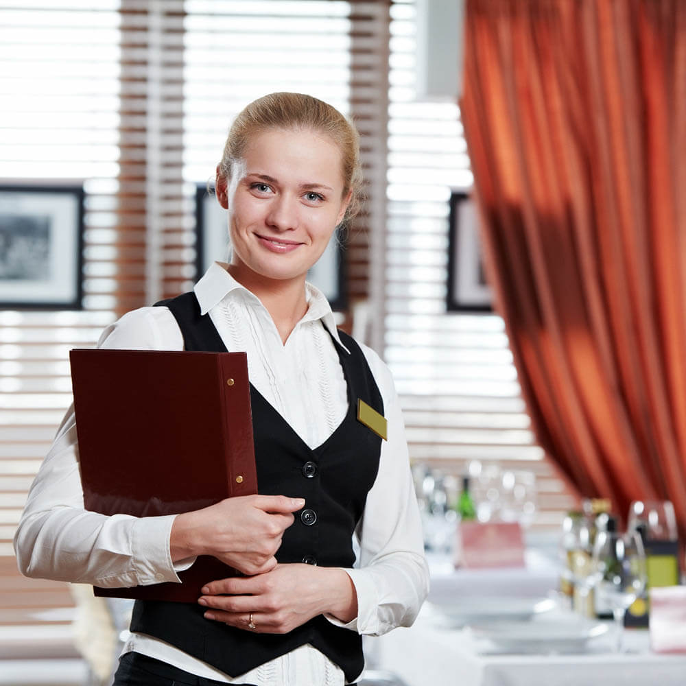 A female restaurant manager