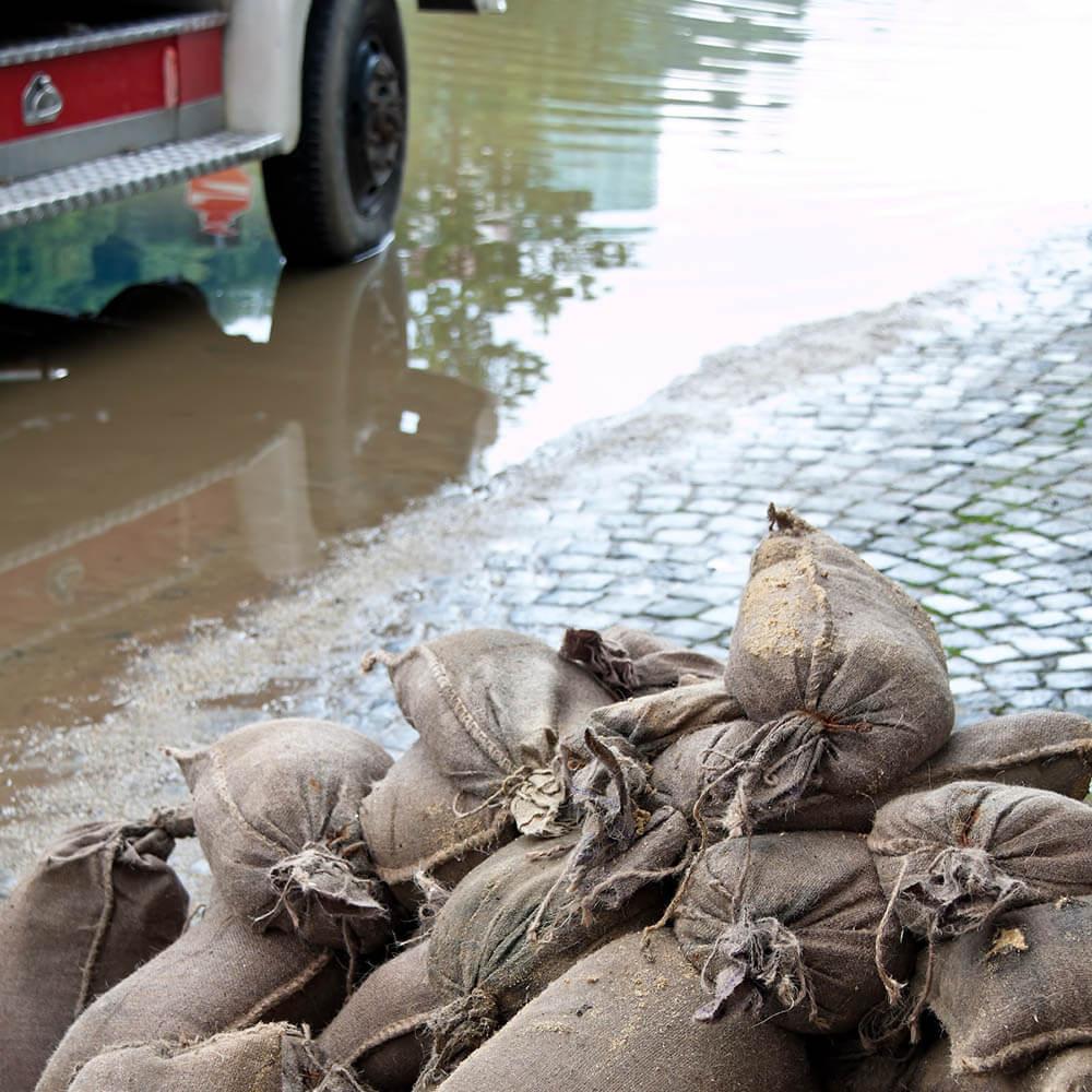 Emergency sandbags used for flood control
