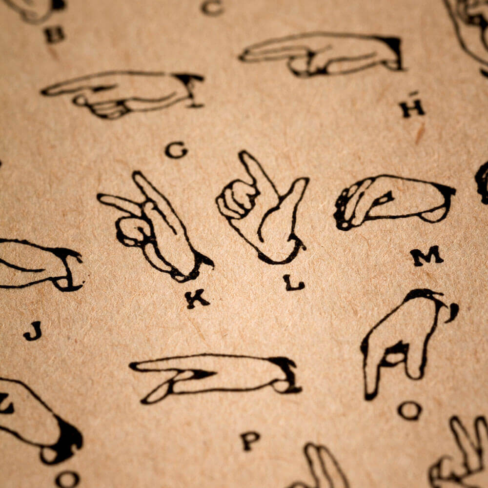 Illustrastion of the sign language alphabet