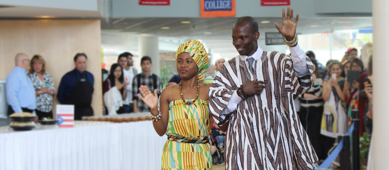 Two students dressed in tradional african clothing