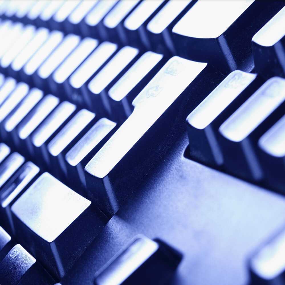 Close up view of a black computer keyboard
