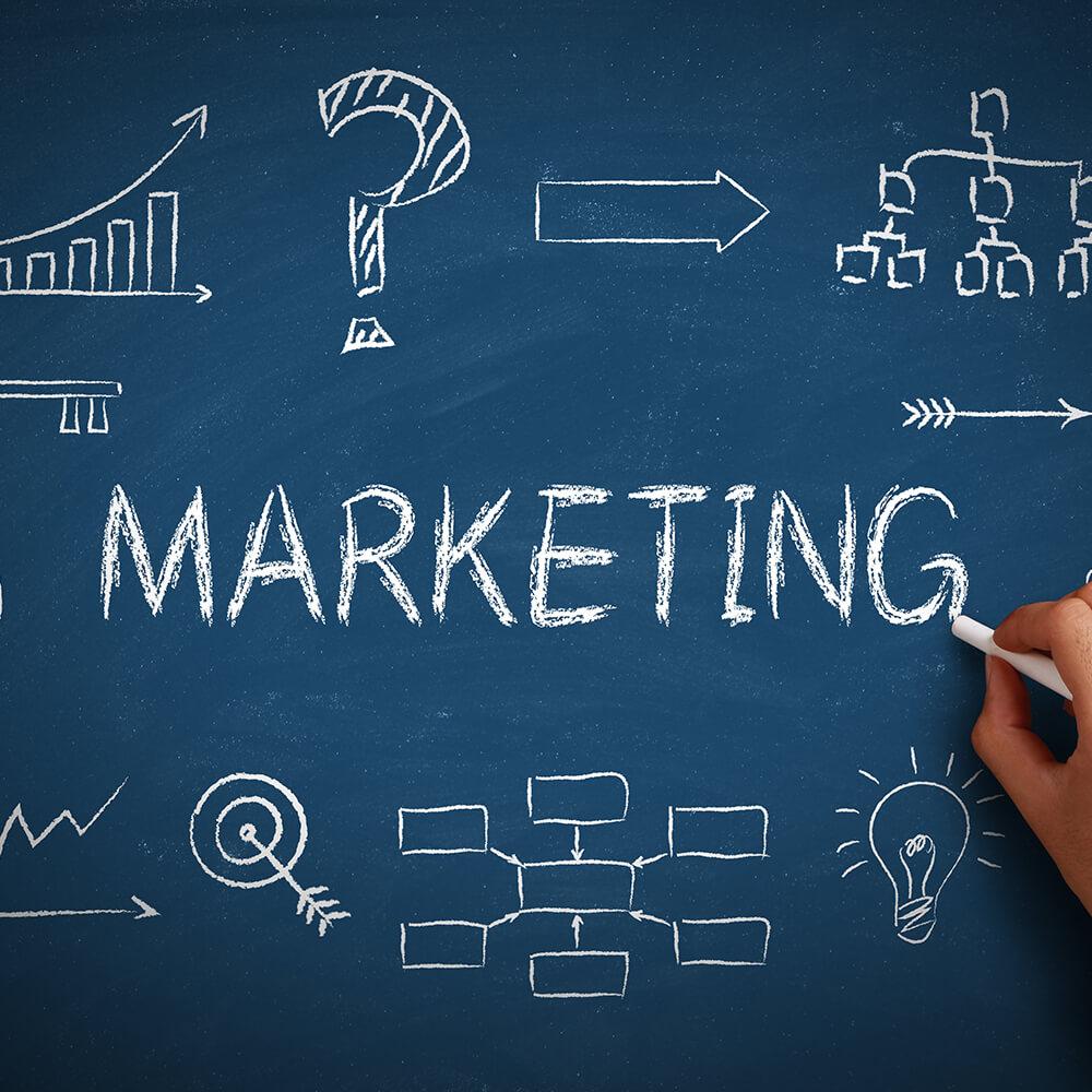 The word Marketing written on a chalkboard