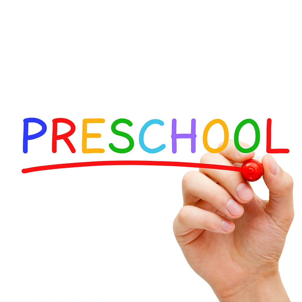 The word Preschool written in rainbow colors