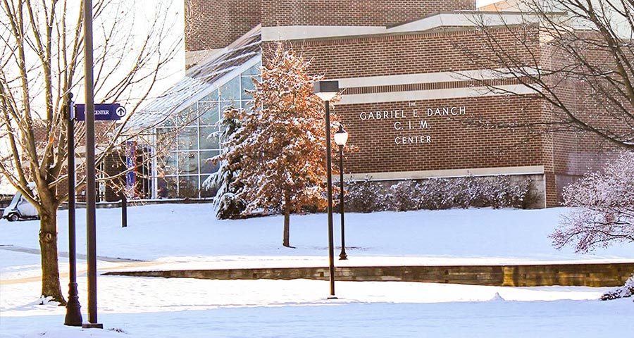 Snow covered blackwood campus