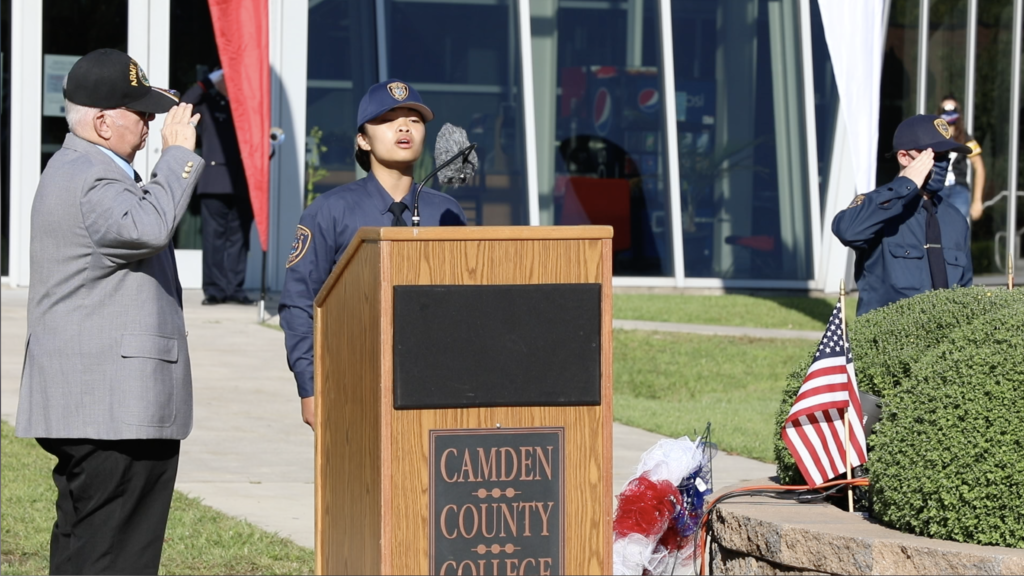Camden County Police Academy Recruit Camille Calupad of BCPO Class #79 singing the National Anthem