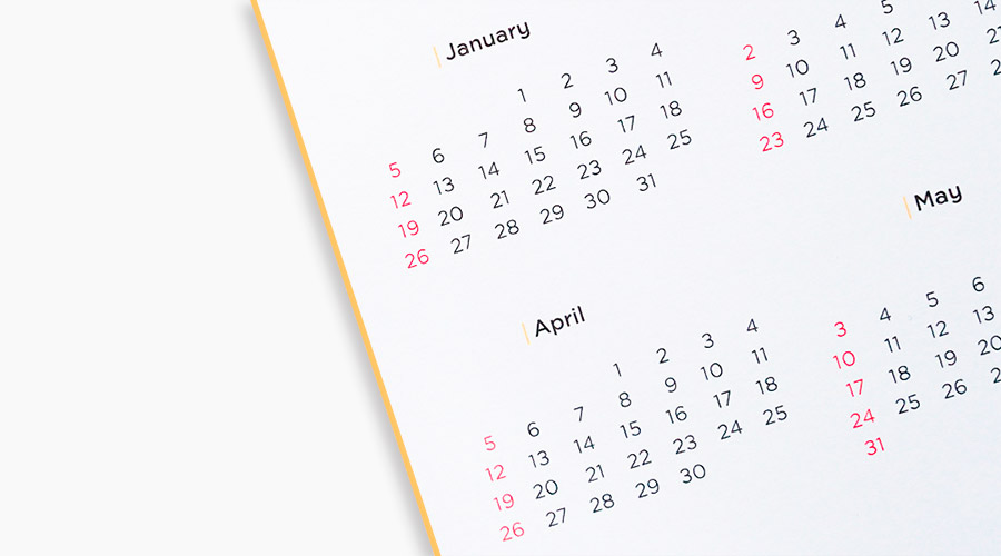 end of year calendar