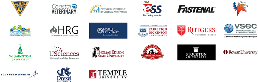 Logos of participating businesses and colleges