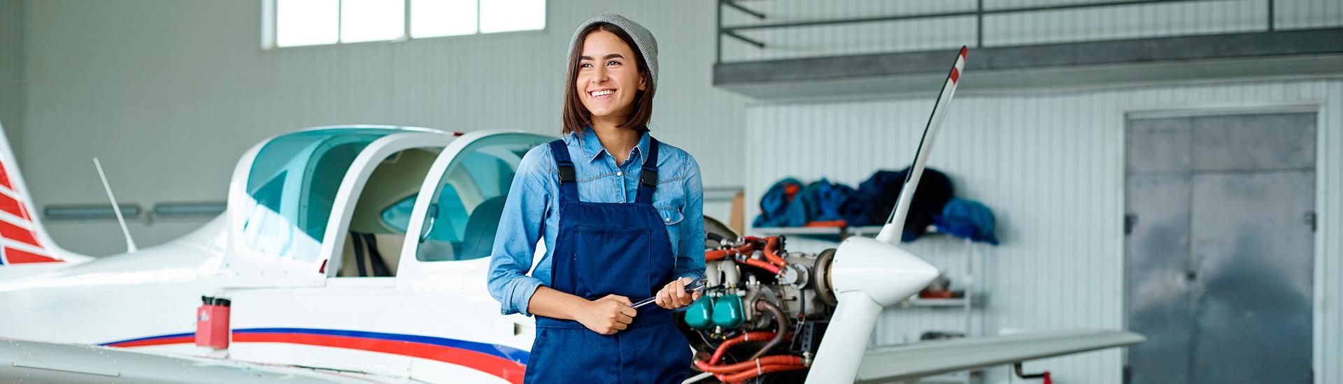 young female aviation mechanic