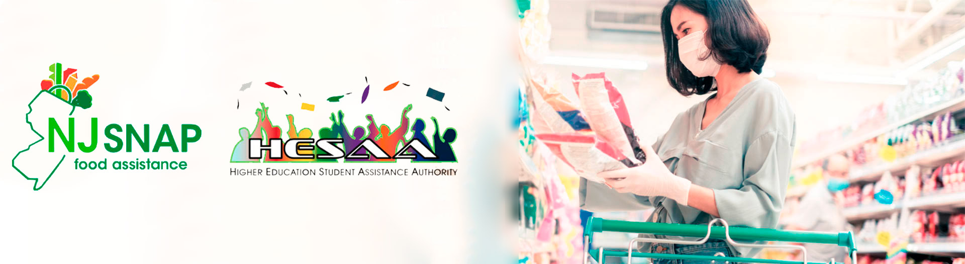 NJSNAP food assistance logo with the Higher education student assistance authority logo