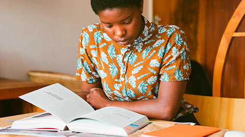 African American student studying