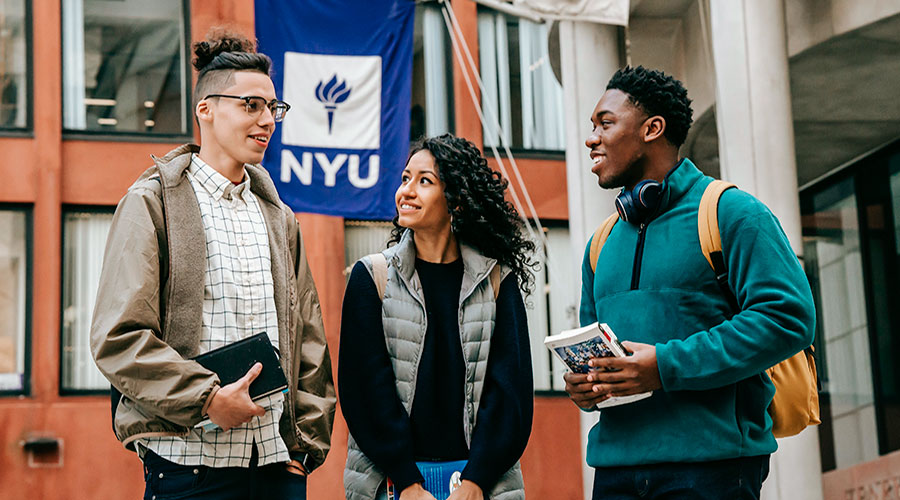 three diverse students at a transfer event